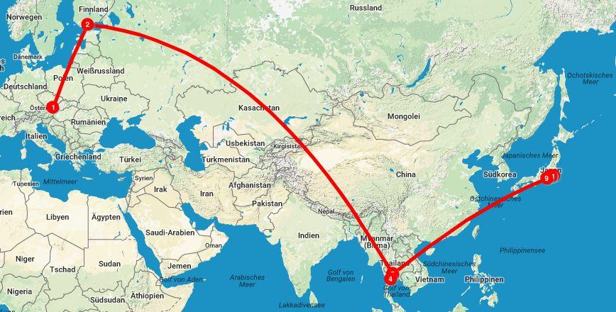 Allein um die Welt: Anreise Japan via Thailand